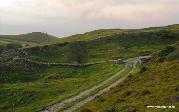 Ruinele cetăţii de la Tabla Buţii. Se poate observa drumul şi poarta sudică de intrare în cetate.