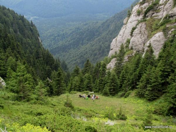 Deja ajunşi în partea superioară a Văii Pârâului Sec la gol alpin. Jos, în vale, în partea stângă, se zăresc mici porţiuni din Poiana Stânii şi din drumul care duce aici
